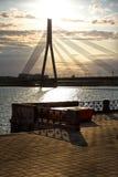 Modern bridge in Riga Royalty Free Stock Photography