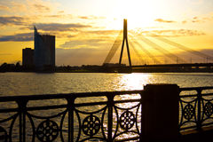 Modern bridge in Riga Stock Images