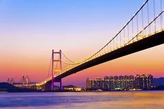 Modern bridge at sunset time Stock Image