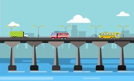 Modern bridge vector illustration city night view Royalty Free Stock Image