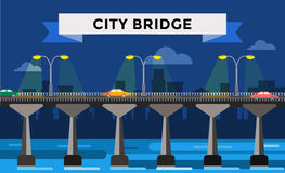 Modern bridge vector illustration city night view Stock Photo
