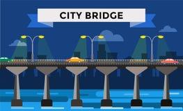 Modern bridge vector illustration city night view Stock Photo
