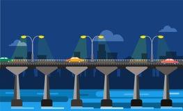 Modern bridge vector illustration city night view Stock Photos