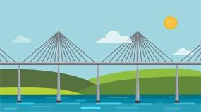 Modern bridge vector illustration Royalty Free Stock Image