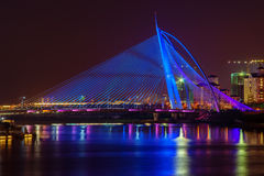 Modern bridge viewed at night Royalty Free Stock Photography