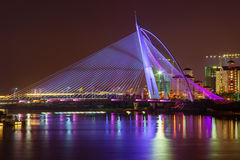 Modern bridge viewed at night Stock Photos
