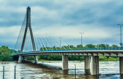 Modern bridge in Warsaw across the river Stock Images
