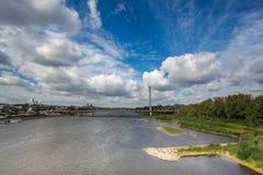 Modern bridge in Warsaw over Vistula river Royalty Free Stock Image