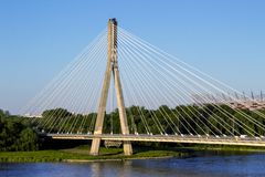 Modern bridge in Warsaw over Vistula river Royalty Free Stock Photo