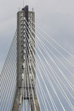 Modern bridge in Warsaw over Vistula river, Poland Stock Photos