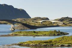 Modern bridges on Lofoten Islands in Norway Stock Images