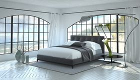 Modern bright and airy bedroom interior Royalty Free Stock Photos