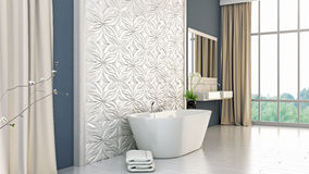 Modern bright bathroom 3D render Stock Photo