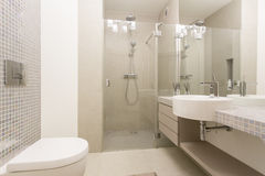 Modern, bright bathroom with glazed showe Stock Photo
