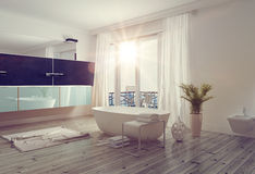 Modern bright bathroom interior Royalty Free Stock Photo