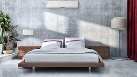 Modern bright bed room interiors 3D rendering illustration computer generated image stock photography