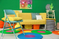 Modern bright child`s room. Interior Royalty Free Stock Image