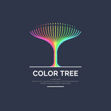 Modern bright colored linear logo tree. Vector illustration on dark background Stock Images