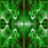 Modern bright 3d green abstract vector seamless pattern. Creative trendy ornamental spotted background. Repeat colorful striped. Backdrop. Gold waves, stripes royalty free illustration