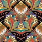 Modern bright floral seamless pattern. Vector colorful sunflower. S background. Flourish wallpaper illustration with vintage 3d golden flowers, leaves and ornate Stock Photo
