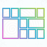Modern bright frames set. Set of colorful wooden frames. Wooden square picture frames of colorful set for your web design. Abstract colorful picture frames on Royalty Free Stock Image