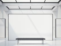 Modern bright gallery with white wall. 3d rendering royalty free illustration
