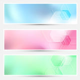 Modern bright hexagon cards collection Royalty Free Stock Photo