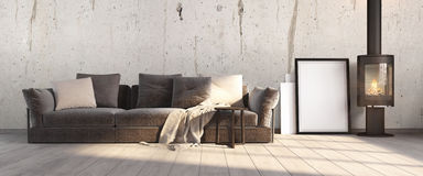 Modern bright interior . 3D render. Bright interior with fireplace in a modern style . 3D render Stock Photography
