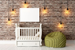 Modern bright interior . 3D render. Bright interior with frame in a modern style . 3D render Stock Photos