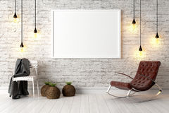 Modern bright interior . 3D render. Bright interior with frame in a modern style . 3D render Stock Images
