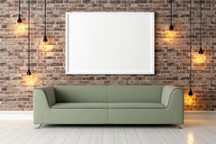 Modern bright interior . 3D render. Bright interior with frame in a modern style . 3D render Stock Photo