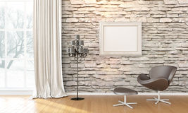 Modern bright interior . 3D render Royalty Free Stock Photo