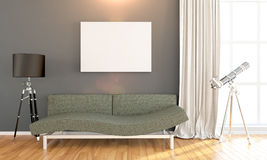 Modern bright interior . 3D render. Bright interior with frame in a modern style . 3D render Stock Image
