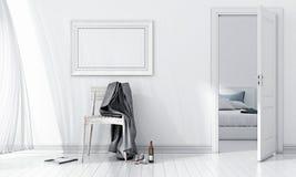 Modern bright interior. 3D render Stock Photos
