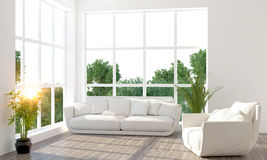 Modern bright interior. 3D render Stock Photos