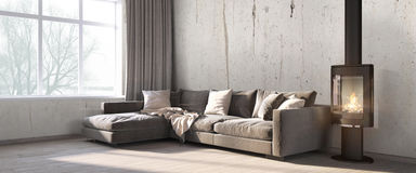 Modern bright interior . 3D render Stock Image