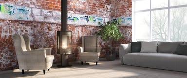 Modern bright interior . 3D render Stock Photo