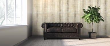 Modern bright interior . 3D render Stock Photos