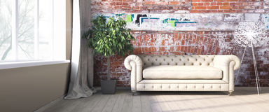 Modern bright interior . 3D render Royalty Free Stock Images