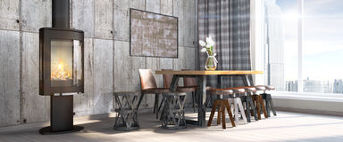Modern bright interior . 3D render. Bright interior in a modern style . 3D render Stock Images