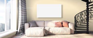 Modern bright interior . 3D render. Bright interior in a modern style . 3D render vector illustration