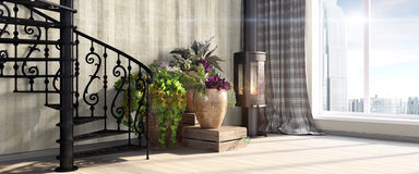 Modern bright interior . 3D render Stock Photography