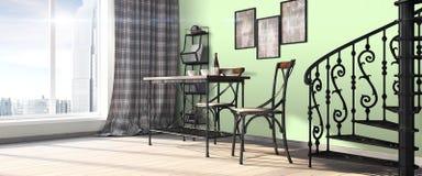 Modern bright interior . 3D render Royalty Free Stock Photo