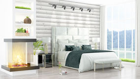 Modern bright interior . 3D rendering. Beautiful modern bedroom interior with fireplace. 3D rendering Stock Photo