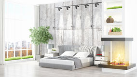 Modern bright interior . 3D rendering. Beautiful modern bedroom interior with fireplace. 3D rendering Royalty Free Stock Photos
