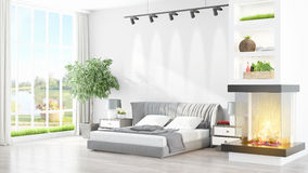 Modern bright interior . 3D rendering. Beautiful modern bedroom interior with fireplace. 3D rendering Royalty Free Stock Photography