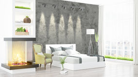 Modern bright interior . 3D rendering. Beautiful modern bedroom interior with fireplace. 3D rendering Stock Photography