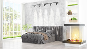Modern bright interior . 3D rendering. Beautiful modern bedroom interior with fireplace. 3D rendering Stock Photos