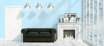 Modern bright interior . 3D rendering. Beautiful modern interior with fireplace. 3D rendering Stock Image