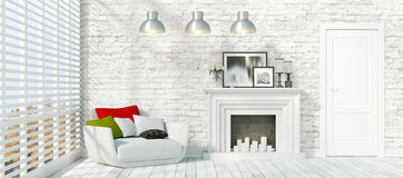 Modern bright interior . 3D rendering. Beautiful modern interior with fireplace. 3D rendering Royalty Free Stock Photo